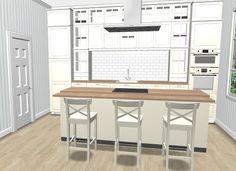 Da har jeg planlagt et kjøkken hvor det er brukt av den nye kjøkken-serien hos IkeaMetod med fronter Bodbyn