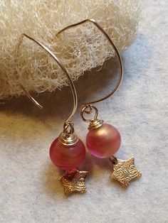 Red Glass Earrings Dangle Earrings Venetian Glass by LadonnaStudio, $30.00