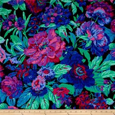 Philip Jacobs Voluptuous Black from @fabricdotcom  Designed by Philip Jacobs for Free Spirit Fabrics in association with Westminster/Rowan, this cotton print is perfect for Quilting, Apparel, and Home Decor Fabrics. Colors include jade green, purple, magenta, blue and pink on a black background.