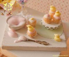 Peep cupcakes!  Hummingbird Miniatures