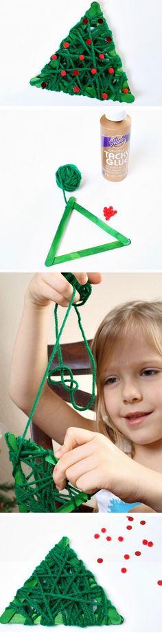 Yarn Wrapped Christmas Tree | 30+ DIY Christmas Crafts for Kids to Make