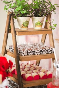 Ladder shelf full of sweets + favors from a Girly Little Farm Birthday Party via Kara's Party Ideas | KarasPartyIdeas.com (24)