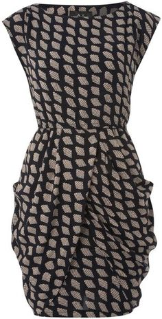 Ax Paris Shell Print Sleeveless Shift Dress in Blue (navy)