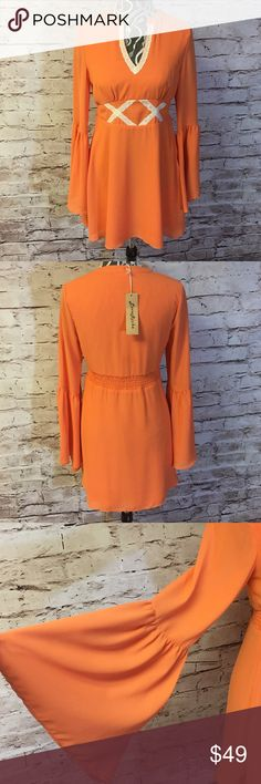 "BEAUTIFUL BELL SLEEVE ORANGE BOHO DRESS Love this adorable dress and very well made. Fully lined with a side zip and elastic band at the back for extra give. Bust 34"" waist 29"" length 32"" Dresses"