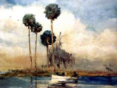 permanent-collection/The White Rowboat, St. Johns River by Winslow Homer Watercolor Journal, Watercolor And Ink, Watercolor Paintings, Watercolors, Watercolor Projects, Watercolor Tutorials, Watercolor Artists, Oil Paintings, Watercolor Landscape