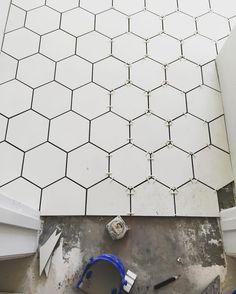 White octagon cement tile in bathroom via Rafterhouse @_rafterhouse_
