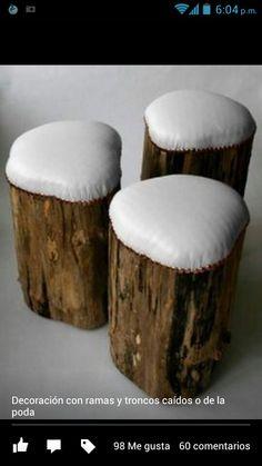 Bancos hechos con troncos
