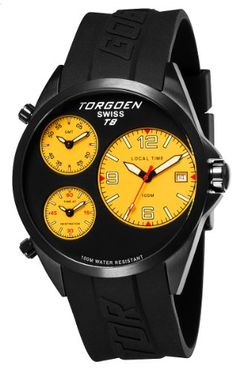 2a11c02b6bd TORGOEN Swiss T08305 Men s 45.5mm Aviation Watch with Triple Time Zone and  Black PU Strap