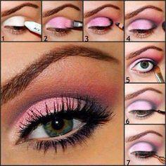ARTE COM QUIANE - Paps,Moldes,E.V.A,Feltro,Costuras,Fofuchas 3D: Maquiagem sombra rosa marcada