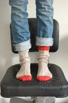 hand knit socks, really cute with the two different colors.