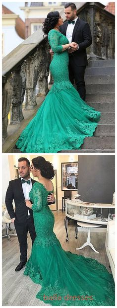 Modest Trumpet/Mermaid V-neck Tulle Court Train Appliques Lace 3/4 Sleeve Prom Dresses