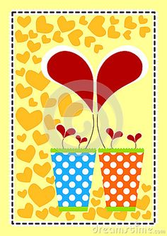 (C) Celia Ascenso - Invitation card with flowers forming hearts in polka dot vases.