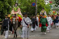 Colorful kimono, beautiful ladies on horse back at the Aoi Matsuri (葵祭) 2014 in Kyoto City! They are called Munanori Onna (騎女) and they are the escort  for the Saiō-Dai (斎王代) Princess. #AoiMatusri,  #Kyoto, #SaiōDai, #ShimogamoShrine, #下鴨神社, #MunanoriOnna