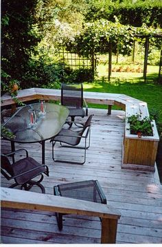Love the bench and planter box idea~  Patio Flower Pots And Planters Design, Pictures, Remodel, Decor and Ideas - page 3