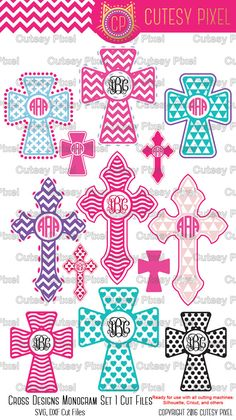 Cross Designs Monogram Frames This is Digital artwork ready for immediate download and ready to be use on such software as Cricut Design Space, Silhouette Studio and other cutting software. The high quality files will cut cleanly and smoothly since they are professionally digitized instead of auto-traced.  ----------------------- ★★ Package Included ★★-----------------------------------  - 15 separate archived files SVG, DXF formats - 14 SVG cut files - 1 DXF file with all designs…