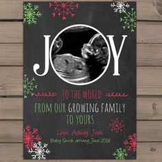 Christmas pregnancy announcement card by Anietillustration on Etsy