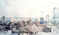 Manchester Skyline by Simone Ridyard, lovely mix of line and colour Urban Sketchers, Pen And Watercolor, Watercolor Landscape, Moleskine, Skyline Art, Drawing Skills, Drawing Art, Art Journal Inspiration, Illustration Art