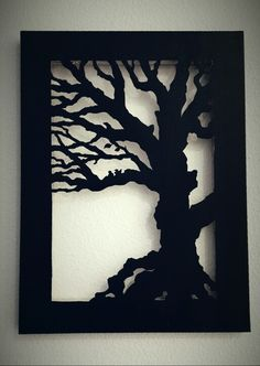 Tree and two birds cut out on canvas