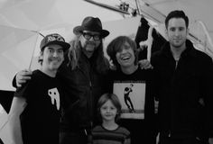 Steven Sebring, in hat, in his studio with (from left): composer Dhani Harrison, who scored Liminal; Sebring's son, Seneca; Rodney Mullen; and Harrison's manager, David Zonshine.
