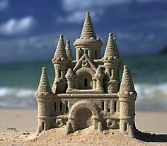Miniature sand sculpture of a castle!