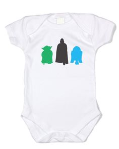 """Baffle """"Star Wars Silhouettes"""" White Cotton Onesie (3-6 months). Perfect Gift for Any Star Wars Obsessed Family - Show the whole family's love of the great Star Wars franchise with this awesome baby onesie. Featuring Yoda, Darth Vader and R2D2 Sillouhettes. Lightning Fast Shipping - Our orders process within 1-2 days and shipped immediately so you don't have to wait long. Great Customer Service - No Stress Return Policy. Brag Worthy Threads."""