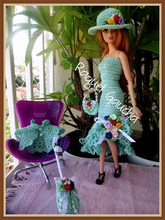 #Cléa1000 #Acessórios #Doll #Crochet #Vestido #Dress #Barbie #RaquelGaucha