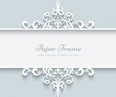 Lace ornament paper frame vector 02