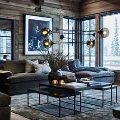 Give us a call if you want to implement this style into your chalet. Chalet Interior, Luxury Interior, Interior Design, Modern Bungalow Exterior, Modern Wall Units, Chalet Design, Loft Room, Lodge Decor, Open Plan Living