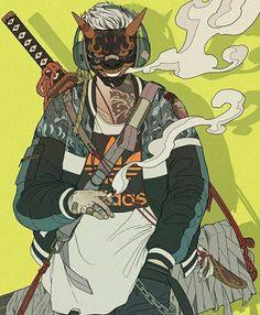 Urban Samurai, Samurai Art, Samurai Concept, Ninja Art, Arte Cyberpunk, Black Anime Characters, Shadow Warrior, Japan Art, Caricatures
