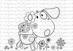 Little Patch Puppy di alldressedupstamps su Etsy Doodle Drawings, Doodle Art, Cute Drawings, Embroidery Patterns, Hand Embroidery, Doodles, Simple Prints, Kids Prints, Coloring Book Pages
