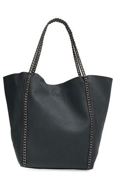 This cool chain faux leather tote is definitely going to help achieve that moto edge look that's so popular right now.