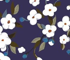 White Flowers - large fabric by glimmericks on Spoonflower - custom fabric Purple Backgrounds, Custom Fabric, Spoonflower, White Flowers, Fabric Design, Wraps, Snoopy, Diy Projects, Gift Wrapping