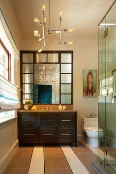 Pasadena Showcase House 2015. Young Man's Suite. Concept Builders Nancy Del Santo Don Boline Interesting tile work on floor.