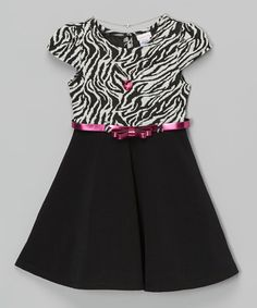 Love this Black Zebra Cap-Sleeve Dress & Necklace - Girls by Youngland on #zulily! #zulilyfinds
