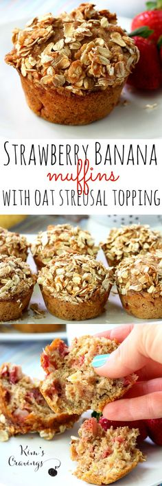 Whole grain muffins filled with juicy strawberries and covered with a sweet oat streusel topping! These muffins are a MUST make!