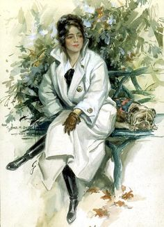 """""""Lucky Dog"""" illustration by Harrison Fisher, circa 1920. Model is Catherine """"Kate"""" Clements?"""
