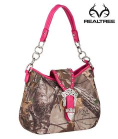 Realtree Xtra Camo Rhinestones Hobo Tote w/ Pink Trim   #realtreeXtra #camohanbags