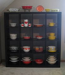 Vintage Collection (twin72) Tags: red orange black ikea yellow vintage hearts rainbow display collection bowls pitchers pyrex casseroles enamelware expedit finel cathrineholm kajfranck expeditshelves fridgedishes danskkobenstyle