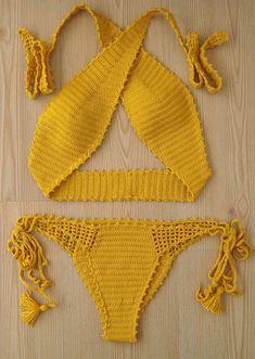 crochet bikini yellow women bikini swimwear women swim - C l o t h e s - Sexy Bikini Sexy Bikini, Bikini Modells, Women Bikini, Bikini Mayo, Crochet Bathing Suits, Yellow Bikini, Monokini, Crochet Clothes, Bathing Suits