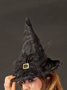 Black Couture Witch Hat w Feather Detail. via Etsy.