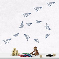 Airplane wall decals Origami paper planes Airplane nursery