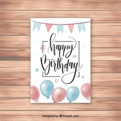 Happy birthday greeting card with confetti Free Vector Happy Birthday Cards Handmade, Creative Birthday Cards, Mom Birthday Crafts, Beautiful Birthday Cards, Birthday Cards For Friends, Happy Birthday Greeting Card, Bday Cards, Calligraphy Birthday Card, Watercolor Birthday Cards