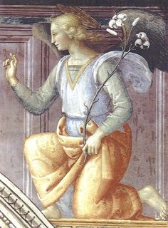 Perugino-Angelo annunciante Tempera, Gospel Of Luke, Fresco, Archangel Gabriel, Little Gardens, Divine Light, Renaissance Paintings, Italian Painters, Italian Renaissance