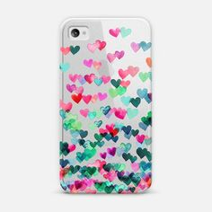 9d7772bccdc Classic Snap iPhone 4/4S Case - Heart Connections 2 - variation - pink,  teal, emerald green