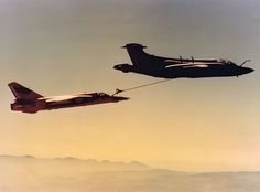 24 August The newly acquired Mirage flown by Maj Gawie Winterbach do IFR for the first time from a SAAF Buccaneer flown by Capt Sandy Allison and Capt Sandy Roy Fighter Aircraft, Fighter Jets, Blackburn Buccaneer, Air Force Day, South African Air Force, F14 Tomcat, Battle Rifle, War Machine, Military Aircraft