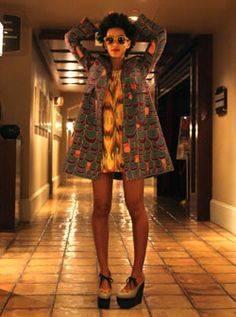 Solange Knowles in Torn by Ronny Kobo dress, Alberta Ferretti jacket and Marni platforms <3