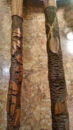 Folk Art, Steampunk Cane hand carved leaves in Walnut Artist Signed OAK Clothing, men, women, fashion accessories, home decor, walking sticks, canes