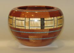 Bowls by Jeff Beckham ----Cherry, Sapele, Curly Maple, SpectraPly, Birch Veneer & Turquoise Inlace. #91