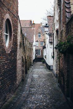Bruges, Belgium - Cobbled street in Belgium