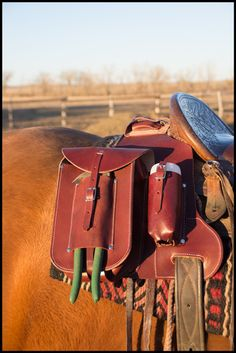 "Ranchers Medicine Bag- This bag is the ""Full Monty"" of medicine bags! Never leave the house or barn again without all of the necessary doctoring equipment. Wade Saddles, Horse Saddles, Horse Saddle Bags, Roping Saddles, Horse Halters, Horse Gear, Horse Tack, Breyer Horses, Cowboy Gear"